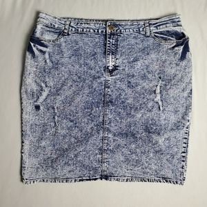 Elite Jean's Retro Acid Wash Jean Distressed Skirt